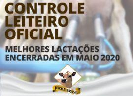 Controle Leiteiro Oficial - Melhores Lactações encerradas em Maio de 2020